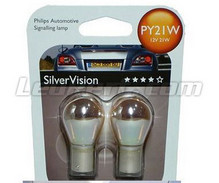 2 Philips-Lampen SilverVision blinkend Chrom - PY21W - Basis BAU15S